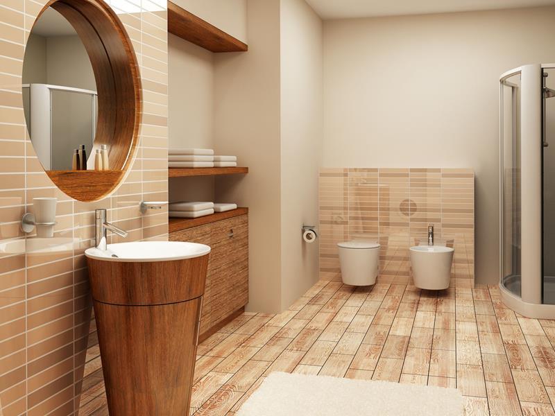 Drewno Na ścianie W łazience Bovameble Stylowe Meble